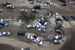 NEW YORK - November 1: Crashed cars after Hurricane Sandy on Oct